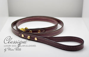 Burgundy, handmade and hand-stitched leather leash