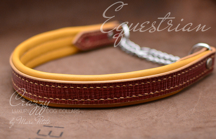 Red Leather Greyhound Sighthound Collar