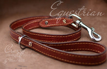 Load image into Gallery viewer, Luxury red leather leash with croco print