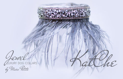Haute Couture Dog Collar with feathers - Gold Plated - Grey - by Marc Petite