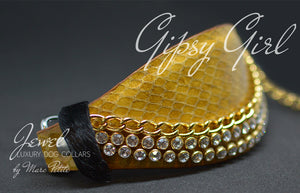 Yellow Snake Dog Collar with chain and Cristal