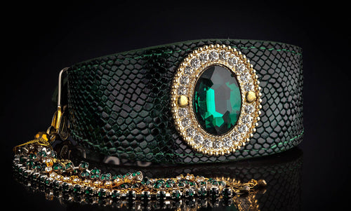 Jewelled Magic Greyhound Green Snake  Collar with Stone & Tassel