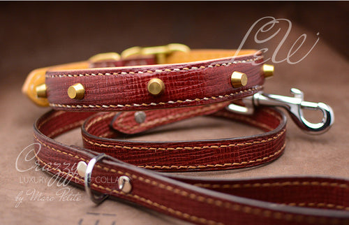 High end croco leather dog collar with spikes & thorns