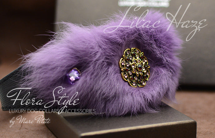 Flora Style Lilac Haze Fur Dog Collar