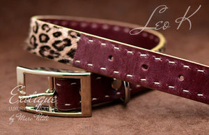 Exotic Leopard Fur leather Dog Collar