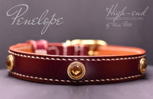 Load image into Gallery viewer, Burgundy vegetable tanned leather dog collar