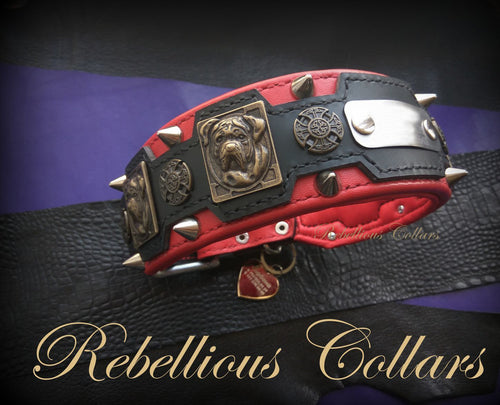 Rebellious Mastiff Dog Collar in Red Leather