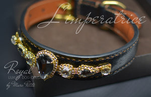 Luxury leather dog collar with crystals - Bling Collars- Marc Petite