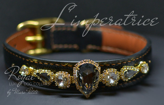 Royal dog collar with large crystals - Bling Collars- Marc Petite