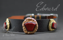 Charger l'image dans la galerie, Elegant, black leather dog collar with golden jewels and red stone