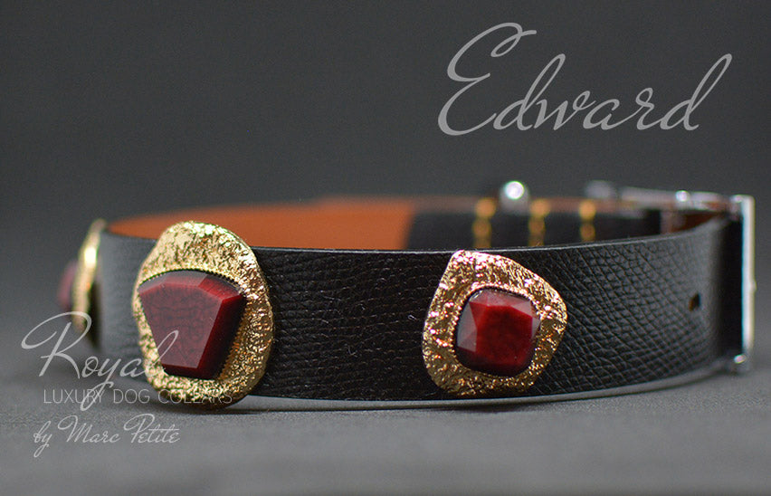 Elegant, black leather dog collar with golden jewels and red stone