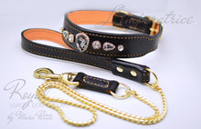 Load image into Gallery viewer, Diamond Dog Collar with large crystals in black leather