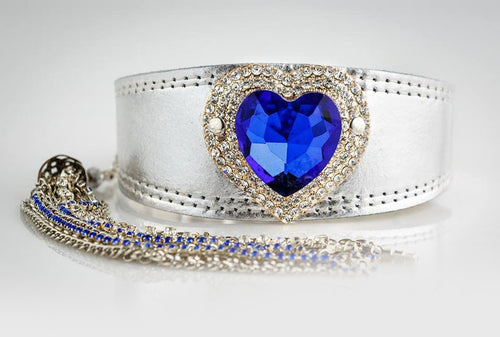 Silver Jewelled Greyhound Collar with Blue Crystal Heart