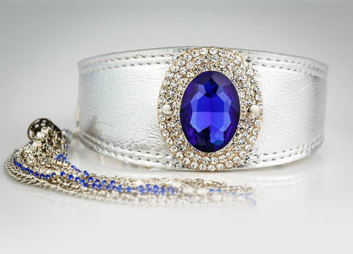 Silver Jewelled Greyhound Collar with Blue Crystal