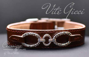 Handmade &  Hand sewn High-end vegetal leather dog collar