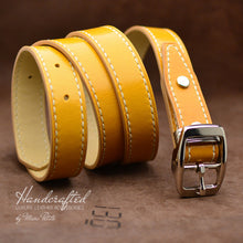 Load image into Gallery viewer, Hand sewn Mustard Full Grain Leather Belt