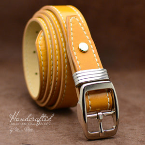 Yellow Full Grain Leather Belt with Stainless Steel Buckle