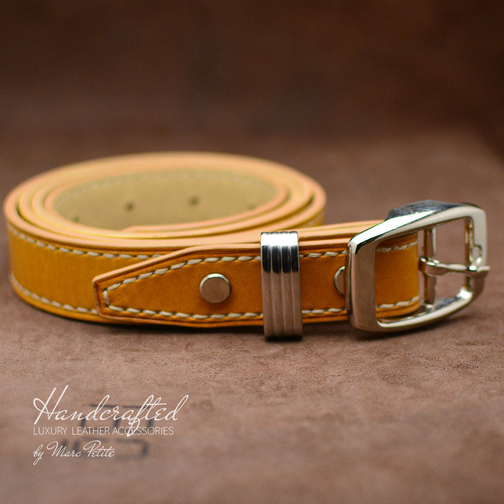 Yellow Mustard Leather Belt with Stainless Steel Buckle