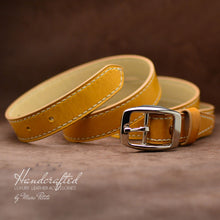 Load image into Gallery viewer, Handcrafted Yellow Mustard Leather Belt