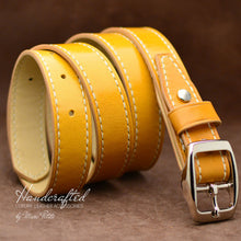 Load image into Gallery viewer, Handmade Yellow Leather Belt