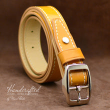 Load image into Gallery viewer, Hand Sewn Yellow Full Grain Leather Belt