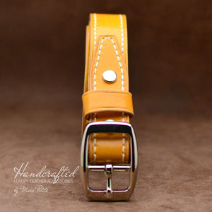 Custom Made Yellow Mustard Leather Belt with Stainless Steel Buckle & Leather Stud