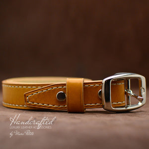 Yellow Mustard Leather Belt with Stainless Steel Buckle & Leather Stud