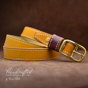 Yellow Mustard Leather Belt with Brass Buckle & Large Leather Burgundy Stud