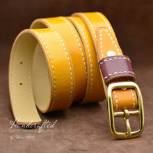 Load image into Gallery viewer, Handmade Yellow Mustard Leather Belt with Brass Buckle & Large Leather Burgundy Stud