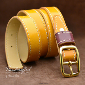 Handmade Yellow Mustard Leather Belt with Brass Buckle & Large Leather Burgundy Stud