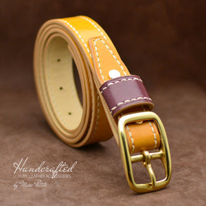 Handcrafted Yellow Mustard Leather Belt with Brass Buckle & Large Leather Burgundy Stud