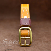 Load image into Gallery viewer, Made-to-order Yellow Mustard Leather Belt with Brass Buckle & Large Leather Burgundy Stud