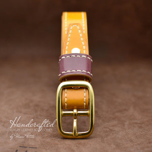 Made-to-order Yellow Mustard Leather Belt with Brass Buckle & Large Leather Burgundy Stud