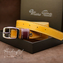 Load image into Gallery viewer, Made-to-order Yellow Mustard Leather Belt with Stainless Steel Buckle & Large Leather Burgundy Stud for men