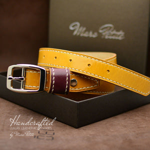 Made-to-order Yellow Mustard Leather Belt with Stainless Steel Buckle & Large Leather Burgundy Stud for men