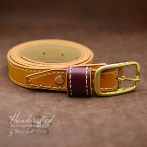 High-end Yellow Mustard Leather Belt with Brass Buckle & Large Leather Burgundy Stud