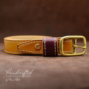 Hand sewn Yellow Mustard Leather Belt with Brass Buckle & Large Leather Burgundy Stud