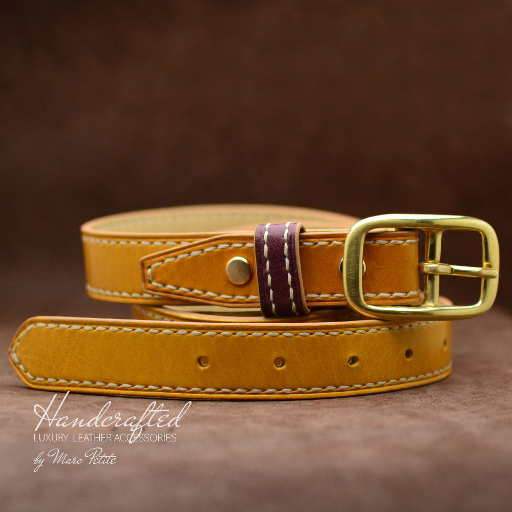 Yellow Mustard Leather Belt with Brass Buckle & Middle Leather Burgundy Stud