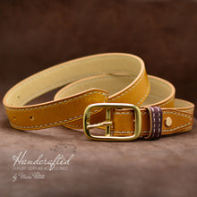 Charger l'image dans la galerie, Handmade  Yellow Mustard Leather Belt with Brass Buckle & Middle Leather Burgundy Stud
