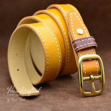 Charger l'image dans la galerie, Handcrafted Yellow Mustard Leather Belt with Brass Buckle