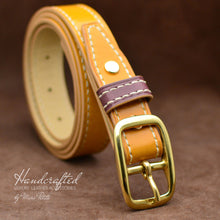 Charger l'image dans la galerie, Hand Sewn Yellow Mustard Leather Belt