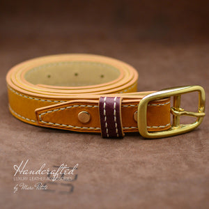 High-end Yellow Mustard Leather Belt with Brass Buckle & Middle Leather Burgundy Stud