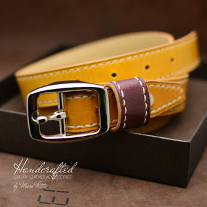 Hand Sewn Yellow Mustard Leather Belt with Stainless Steel Buckle & Large Leather Burgundy Stud for women