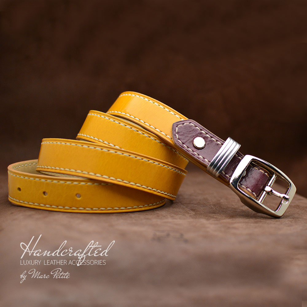 Yellow Mustard Leather Belt with Burgundy Insertion & Brass Buckle
