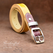 Load image into Gallery viewer, Yellow Mustard Leather Belt with Burgundy Insertion & Brass Buckle