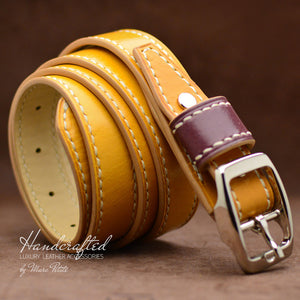 Yellow Mustard Leather Belt with Stainless Steel Buckle & Large Leather Burgundy Stud