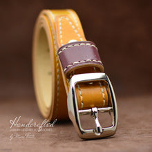 Load image into Gallery viewer, Handcrafted Yellow Mustard Leather Belt with Stainless Steel Buckle & Large Leather Burgundy Stud
