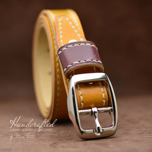 Handcrafted Yellow Mustard Leather Belt with Stainless Steel Buckle & Large Leather Burgundy Stud