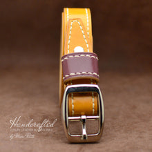 Load image into Gallery viewer, Handmade Yellow Mustard Leather Belt with Stainless Steel Buckle & Large Leather Burgundy Stud