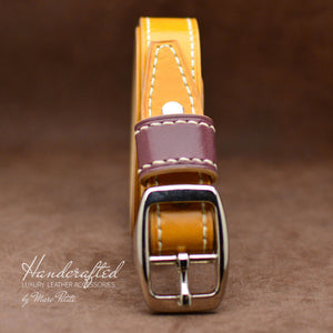Handmade Yellow Mustard Leather Belt with Stainless Steel Buckle & Large Leather Burgundy Stud